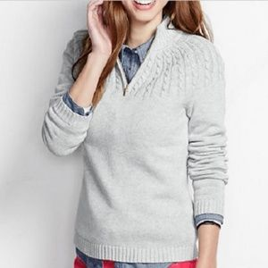 Land's End Drifter Cable Zip Mock Cardigan Gray